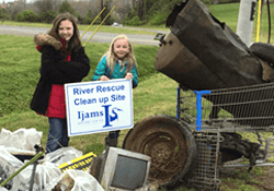 Girl Scouts' river clean up service project